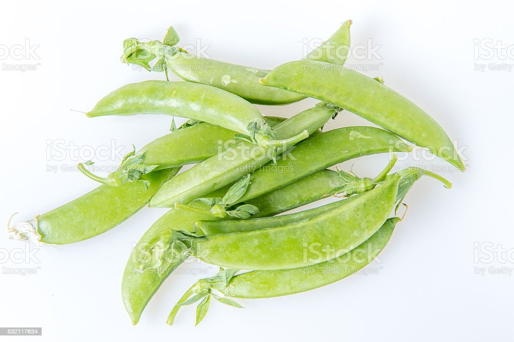 Sugar snap peas in isolated white background stock photo