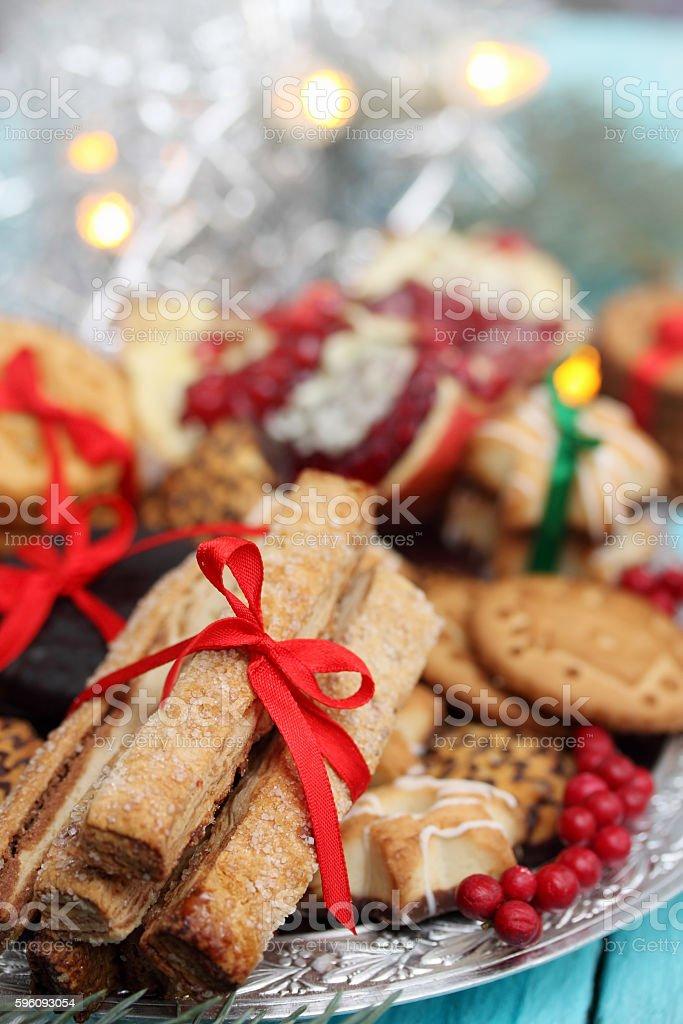 sugar sticks cookies tied a red ribbon Lizenzfreies stock-foto