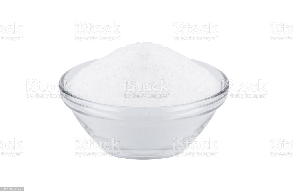 sugar substitute xylitol, a glass bowl with birch sugar stock photo