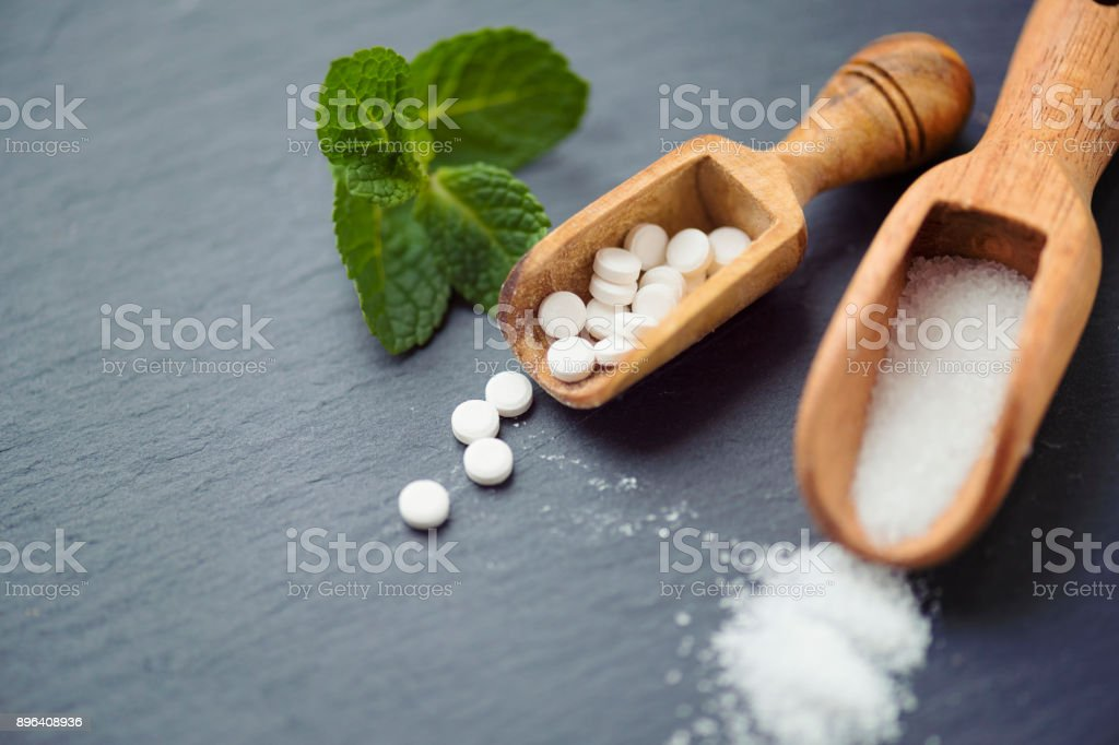 Sugar substitutes – Stevia, Erythritol and Xylitol stock photo