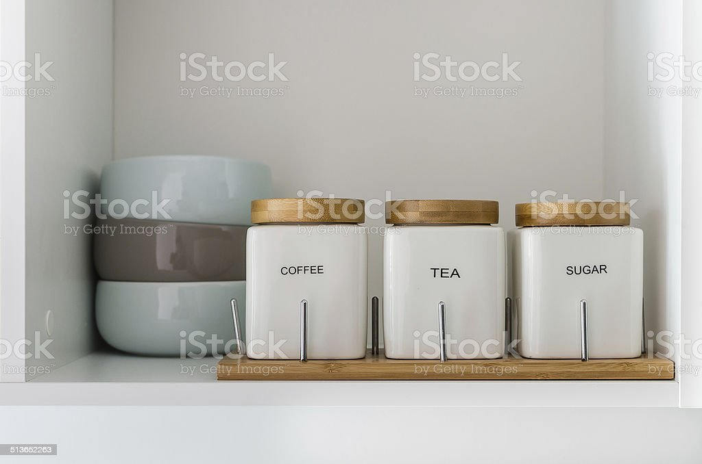 sugar tea and coffee bowl in pantry shelf modern sugar tea and coffee bowl in pantry shelf Cafe Stock Photo