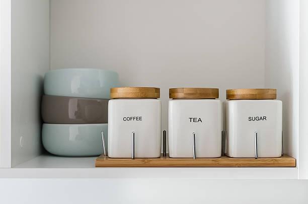 sugar tea and coffee bowl in pantry shelf stock photo