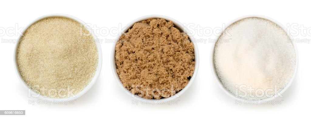 Sugar Varieties Top View Isolated on White stock photo