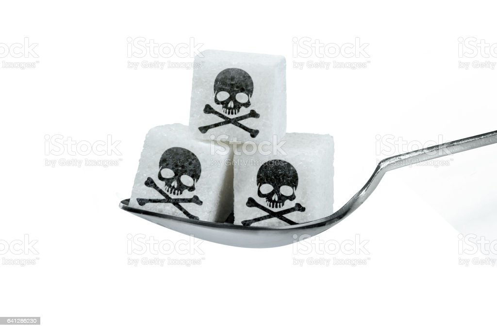 Sugar with skull icon stock photo