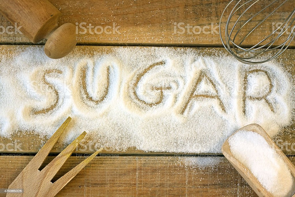 sugar word with background stock photo