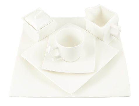 Sugar-bowl, cup and square plate composition