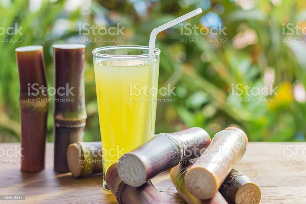 Sugarcane fresh juice for a detox diet stock photo