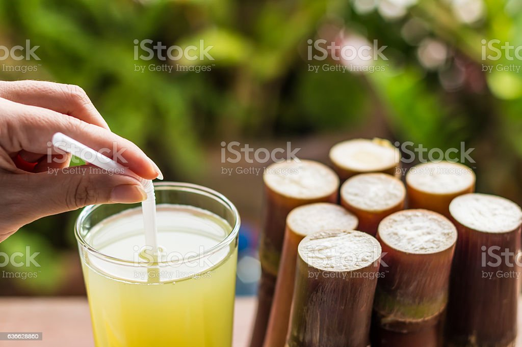 Sugarcane fresh juice for healthy eating, fresh food for dieting stock photo