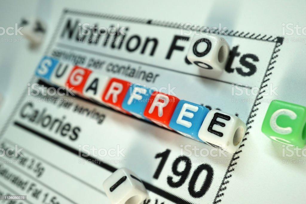sugarfree shot of nutritional fact Abundance Stock Photo