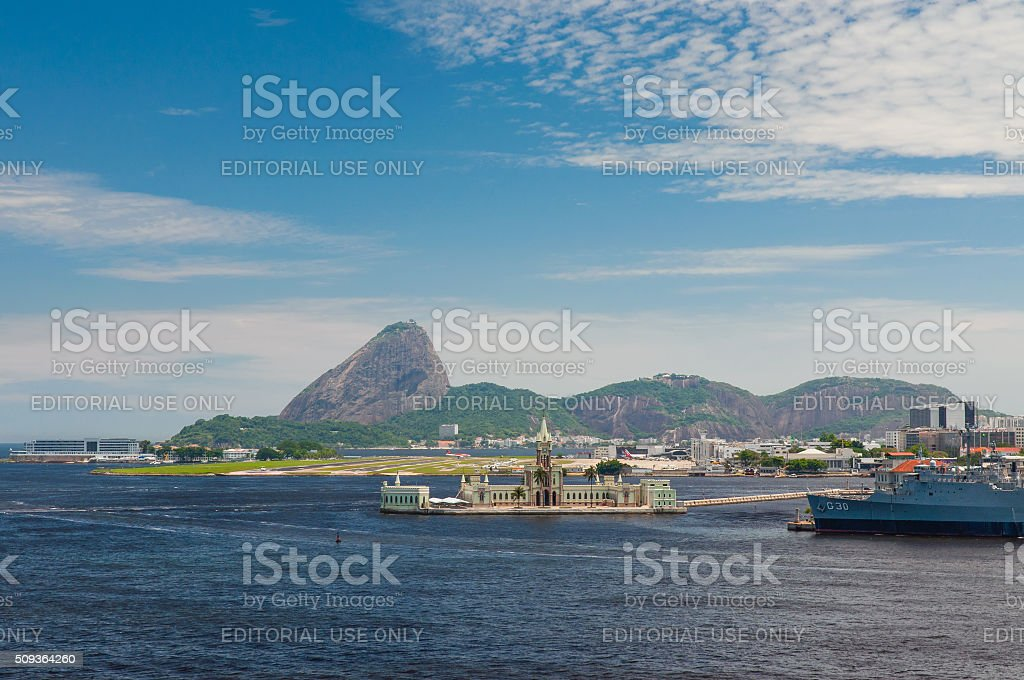 Sugarloaf and Santos Dumont airport in Rio de Janeiro stock photo