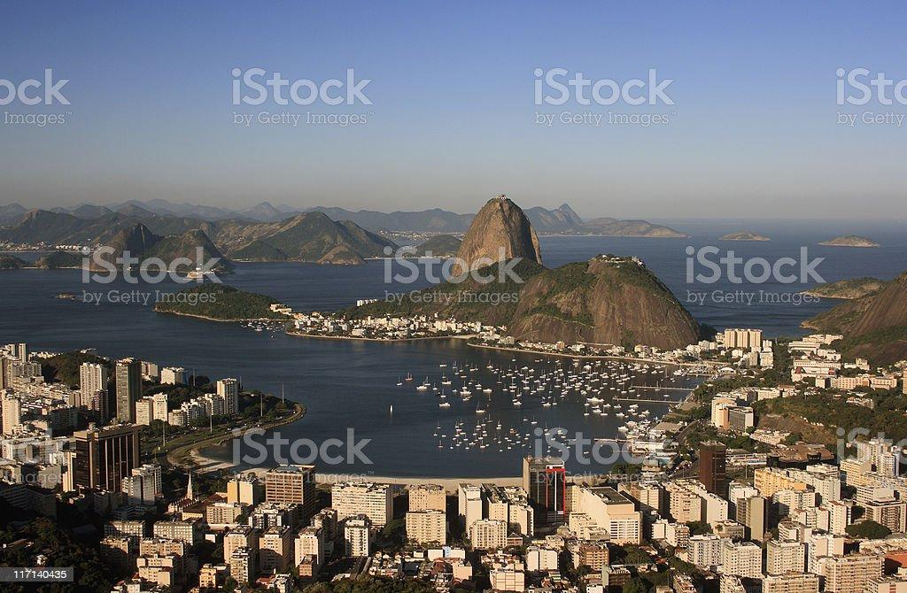 Sugarloaf, Botafogo Beach and Guanabara bay stock photo