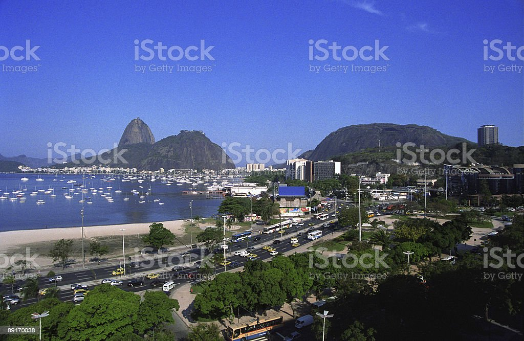Sugarloaf Mountain and Botafogo beach royalty-free stock photo