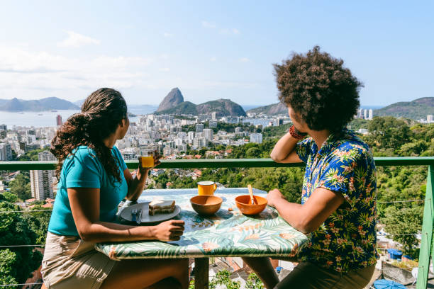 sugarloaf mountain breakfast view, rio de janeiro, - vacations food stock pictures, royalty-free photos & images