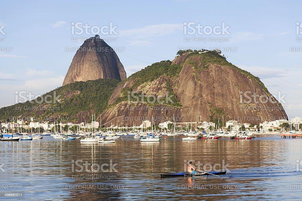 Sugarloaf Mountain from Botafogo Bay, Rio de Janeiro royalty-free stock photo