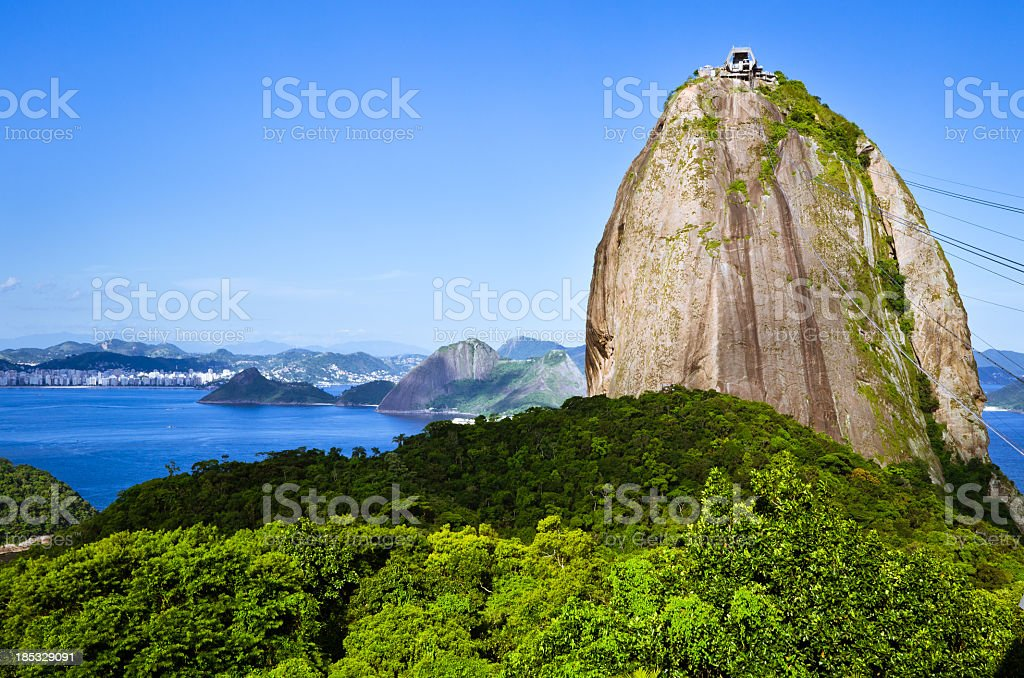 Sugarloaf Mountain in Rio de Janeiro on a sunny day stock photo