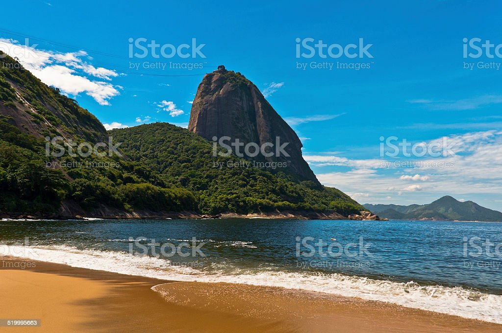 Sugarloaf Mountain view from the Beach stock photo