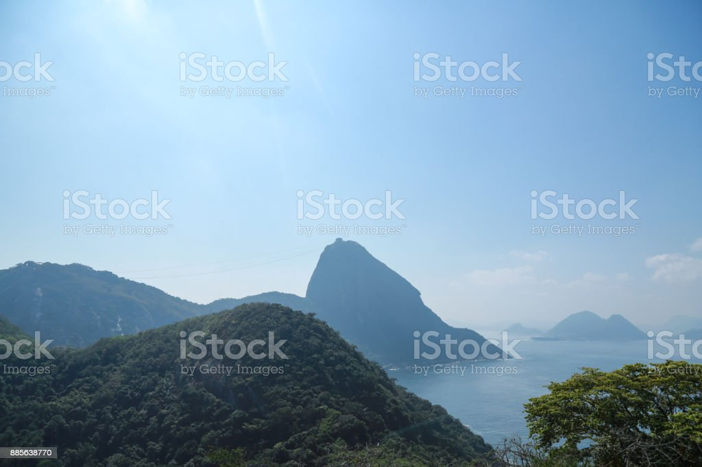 Sugarloaf with the cable car passing by stock photo