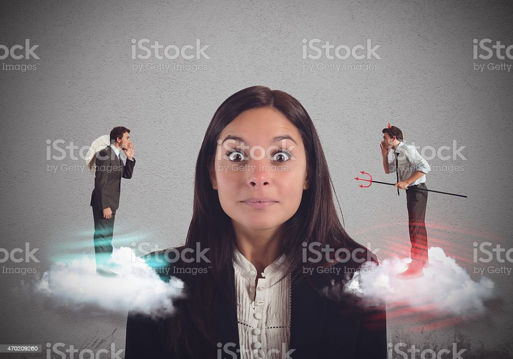 Suggestions bad and good stock photo