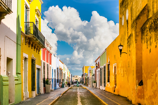 A suggestive street in the historic center of Campeche in southern Mexico