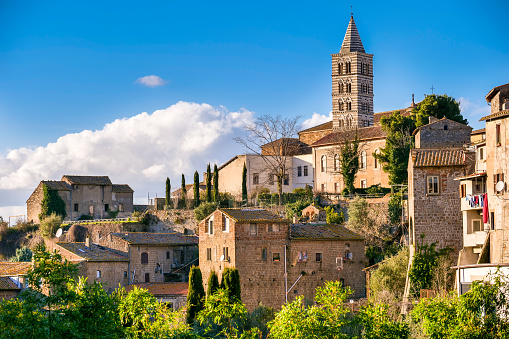 A suggestive panoramic view of the hill of the Cathedral of Saint Lawrence and the medieval district of San Pellegrino, the historic heart of the city of Viterbo, in central Italy. The town of Viterbo stands on the route of the ancient Via Francigena which in medieval times connected the regions of France to Rome up to the commercial ports of Puglia to reach the Holy Land. Image in High Definition format.