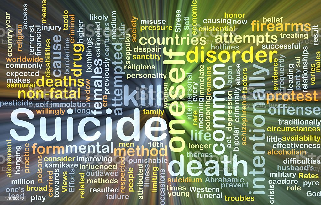 Suicide background concept glowing stock photo