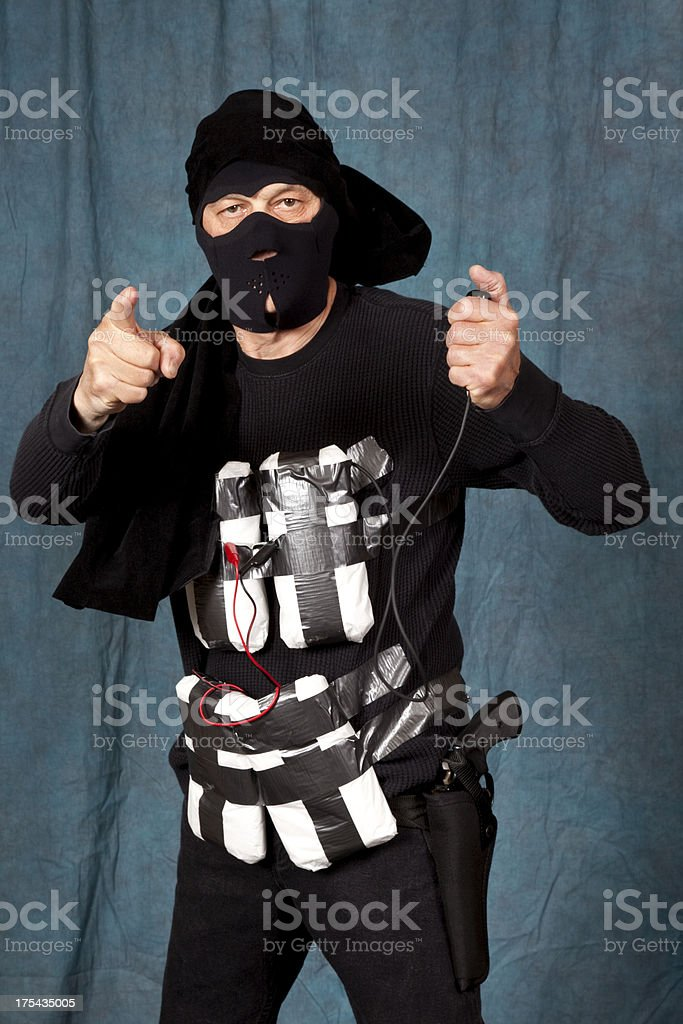 Suicide Bomber with C4 explosives strapped to his body stock photo