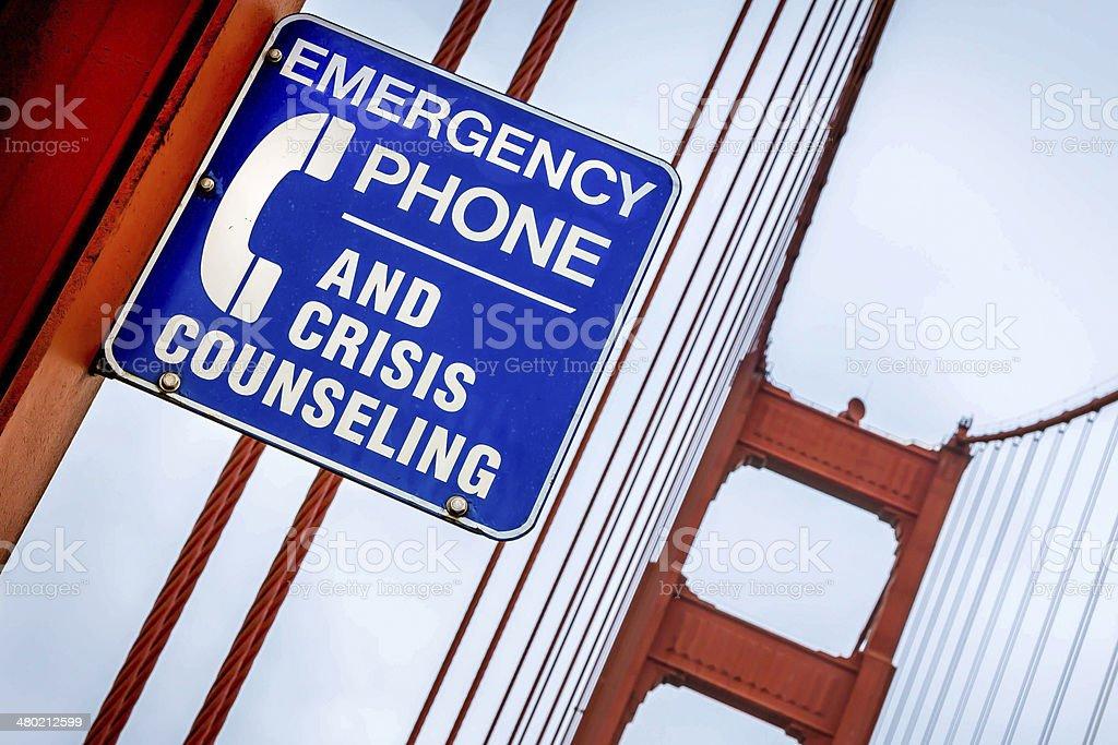 Suicide Counselling Sign, Golden Gate Bridge, San Francisco stock photo