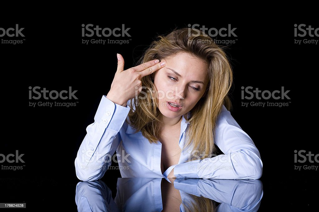 suicide gesture, stress, frustration concept, isolated attractive female royalty-free stock photo