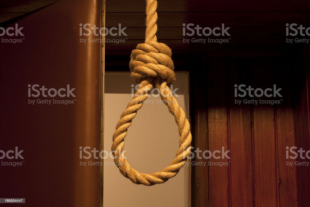 Suicide, hanged in the room concept royalty-free stock photo