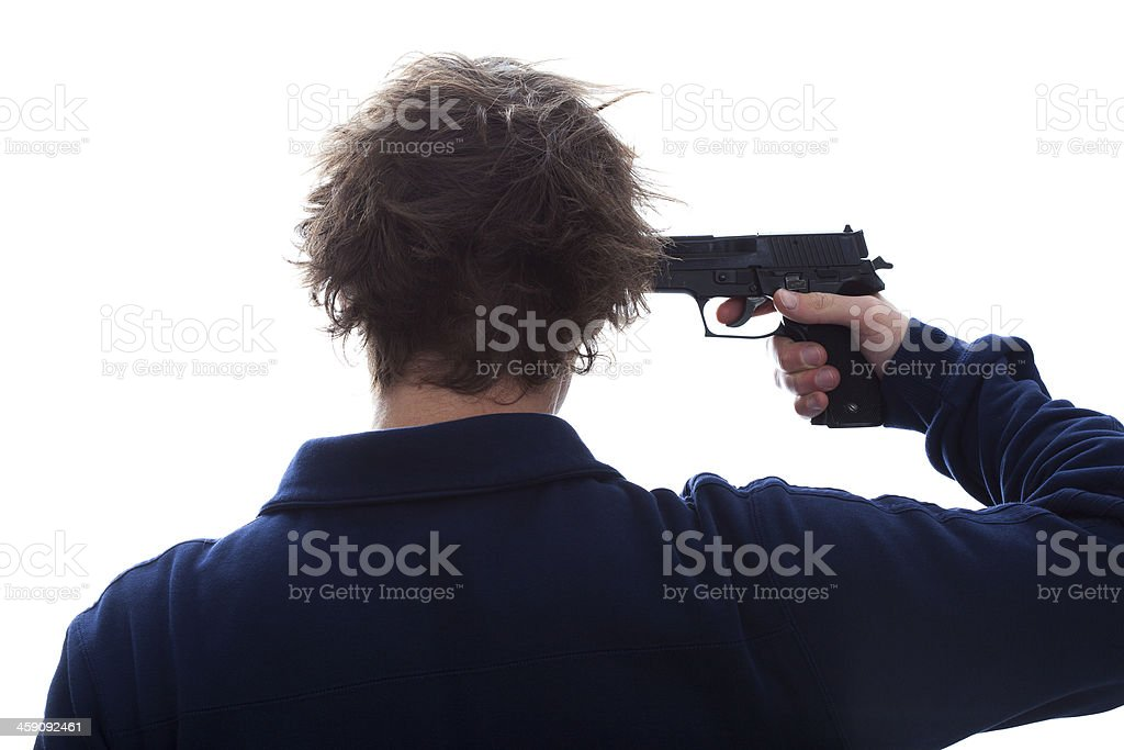 Suicide with a gun stock photo