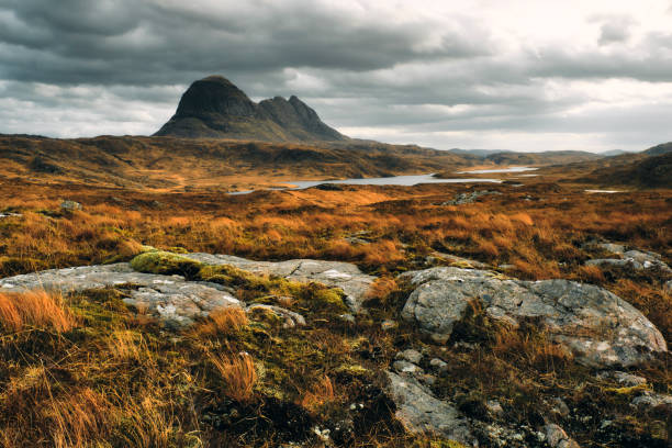 Suilven mountain, Sutherland, Scotland stock photo