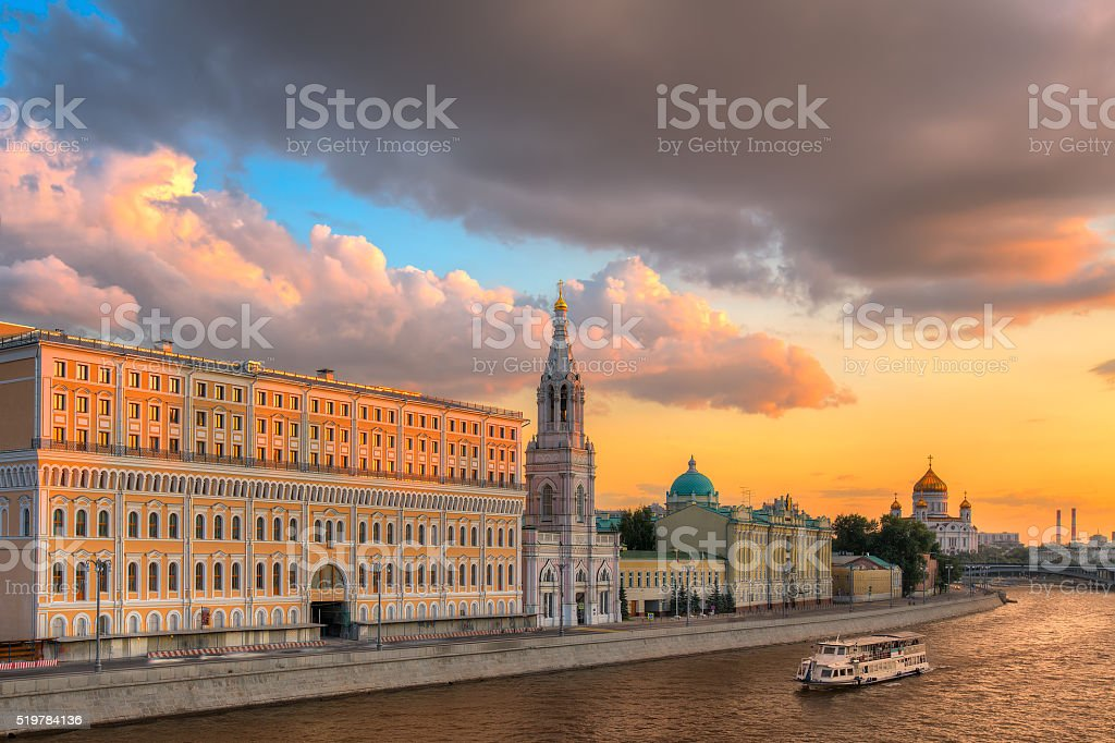 Suinset in Moscow stock photo
