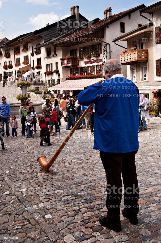 Suisse. Alpenhorn. Swiss Horn stock photo