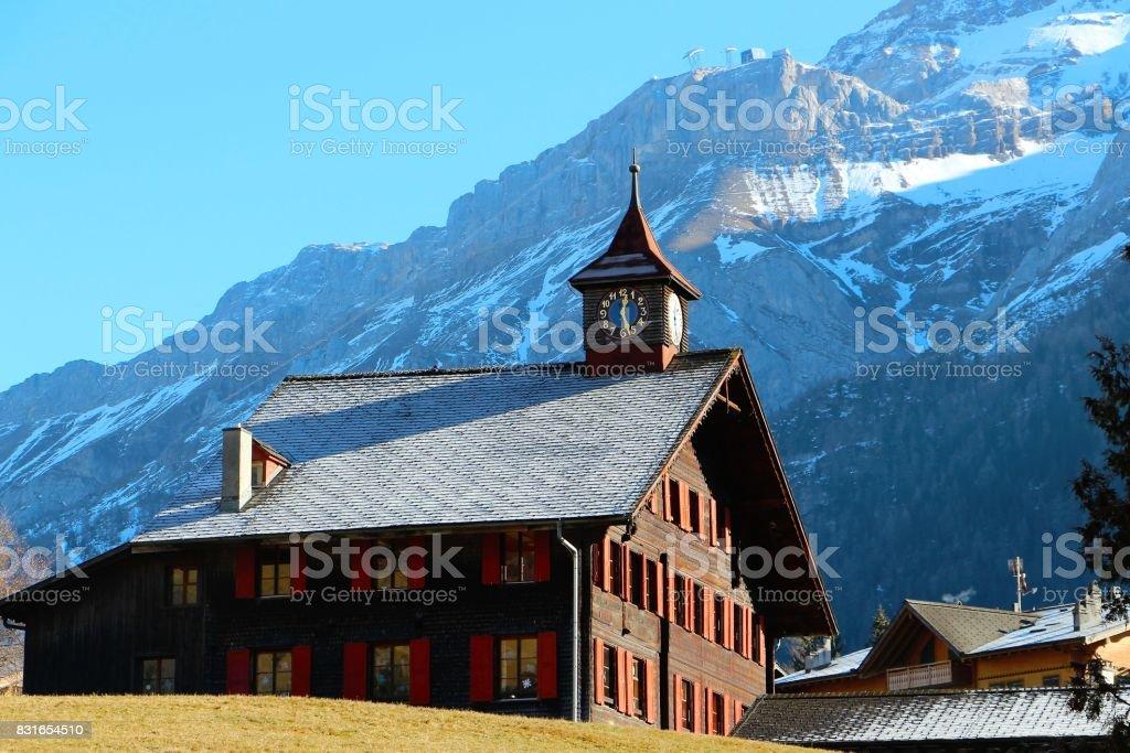 Suisse, les diablerets, village de montagne stock photo