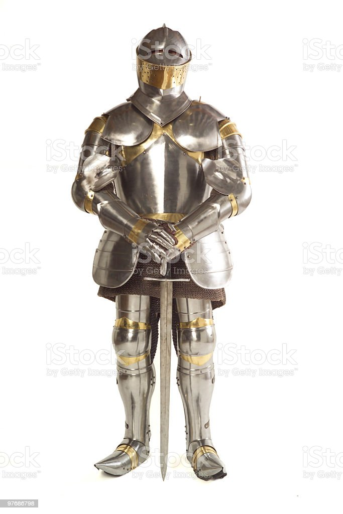 Suit of armor on white background stock photo