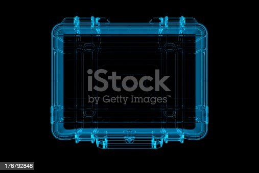 istock Suitcase 3D rendered xray blue transparent 176792848