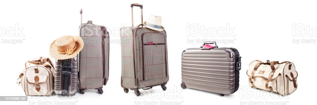 Suitcase and bag set stock photo