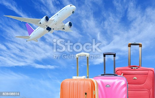 istock Suitcase and plane on sunny blue sky 828498514