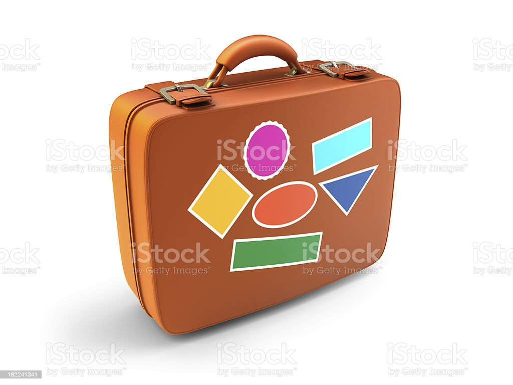 suitcase and stickers royalty-free stock photo