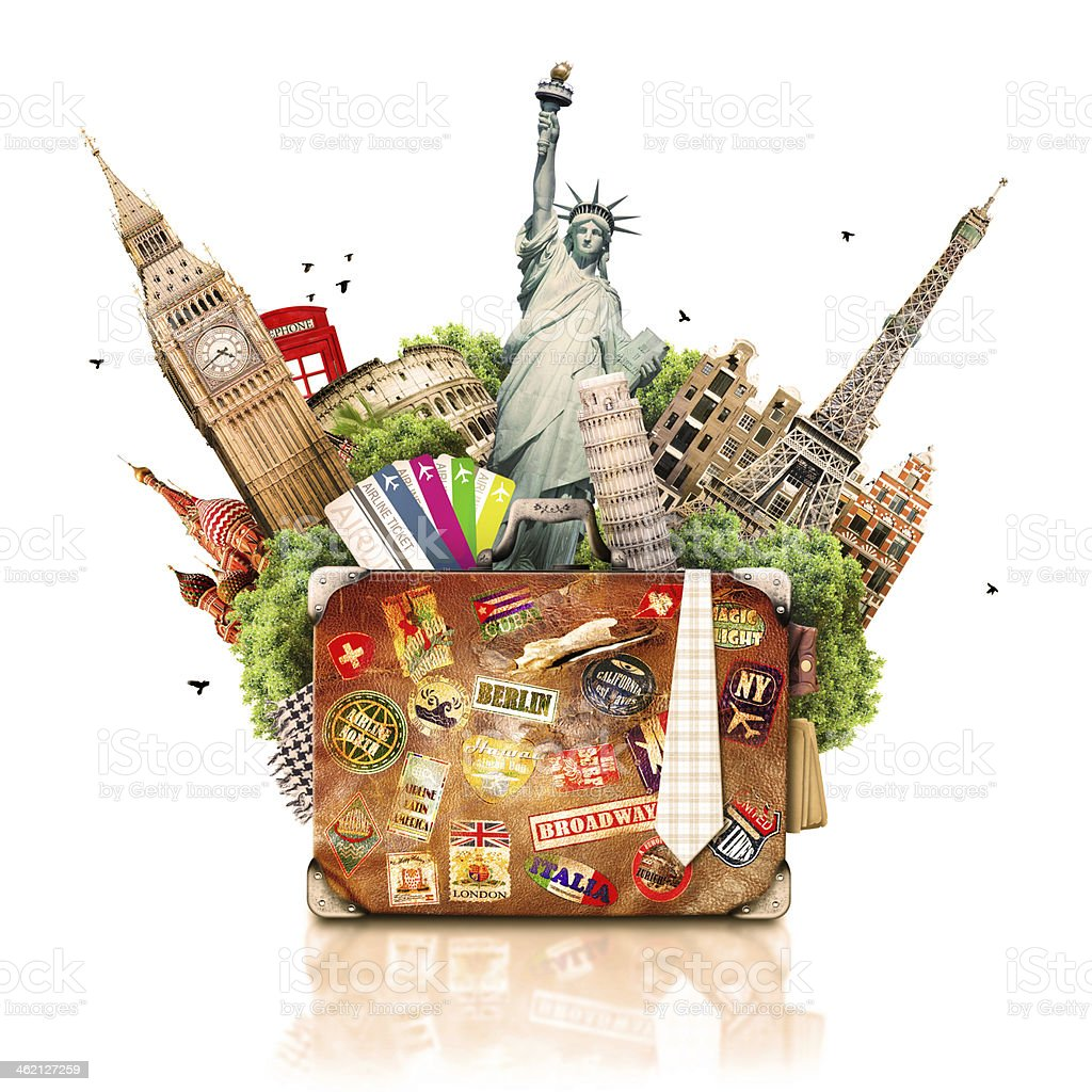 Suitcase and tourism stock photo