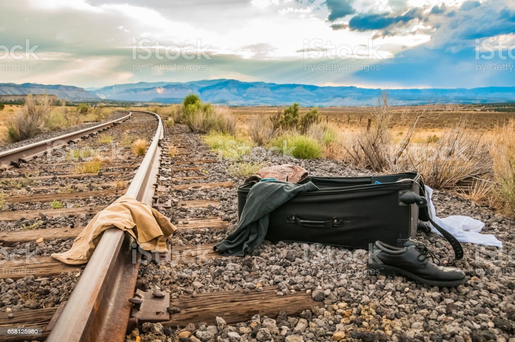Suitcase by the Railroad royalty-free stock photo