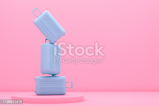 3d rendering of suitcase, minimal travel concept. Copy space, summer season.