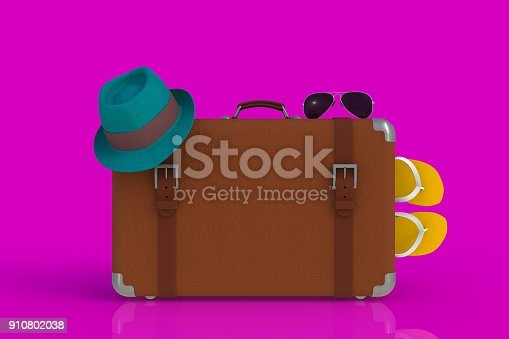 istock Suitcase of a traveler with  straw hat and sunglasses isolated on pink background, 3D rendering 910802038