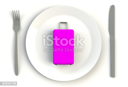 Suitcase on plate, knife and fork on white table, 3D rendering