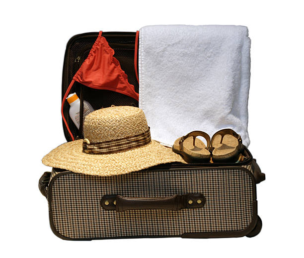 Suitcase ready for vacation or travel stock photo