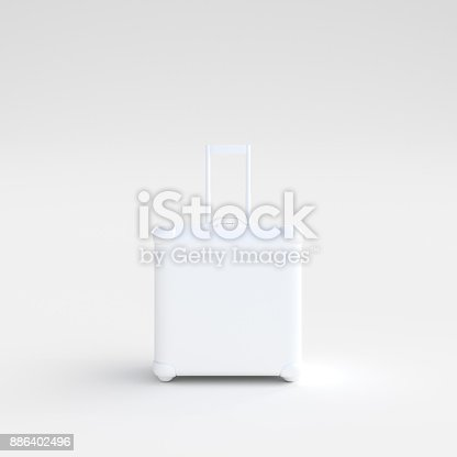 istock suitcase white color standing on white background 886402496