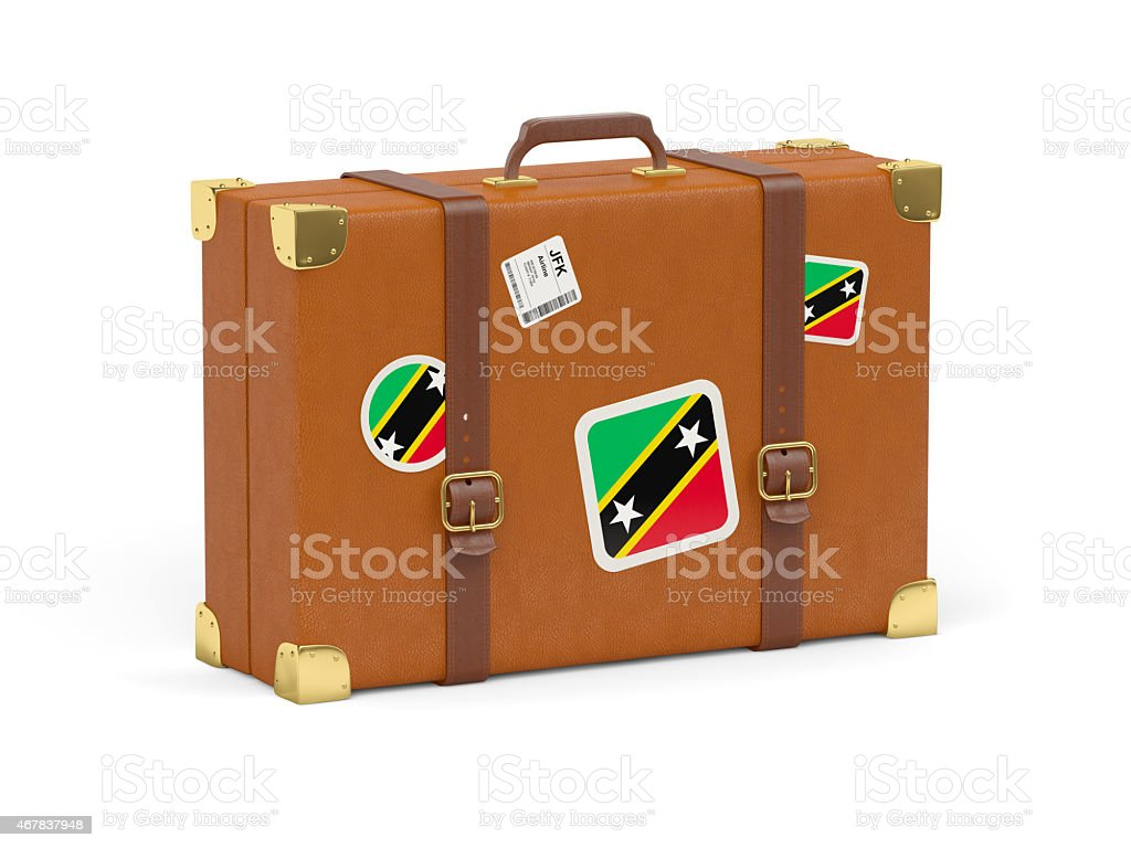 Suitcase with flag of saint kitts and nevis stock photo