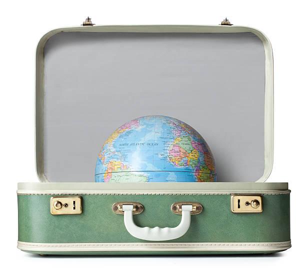 mala com globo - mapa mundi imagens e fotografias de stock