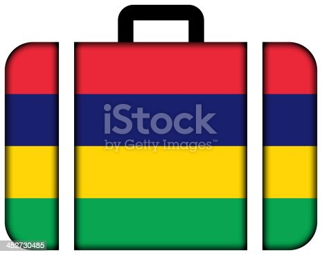 istock Suitcase with Mauritius Flag 452730485
