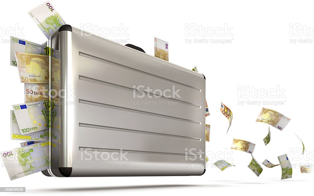 suitcase with money royalty-free stock photo